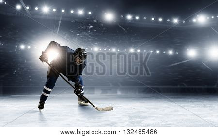 Ice hockey player at rink