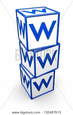 World Wide Web boxes over white background. It's a 3D rendering ilustration.
