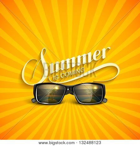 vector typographic illustration of handwritten Summer retro label with sunglasses. lettering Summer composition. Vector sunglasses. Vacation Summer vector concept with sunglasses