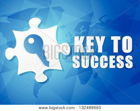 key to success and puzzle piece with key sign - white text with symbol over blue world map background, flat design, business creative concept, vector