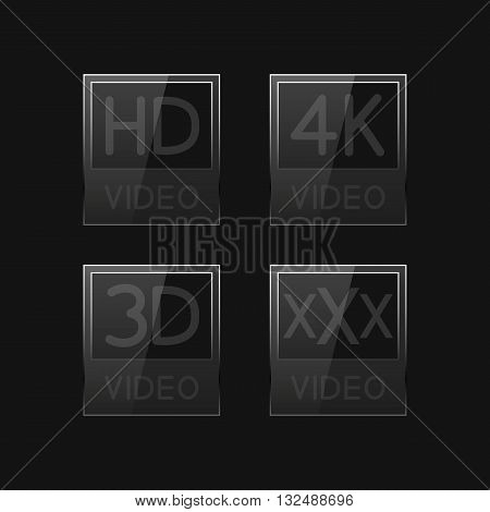 High-definition video signs on black background third set vector illustration.