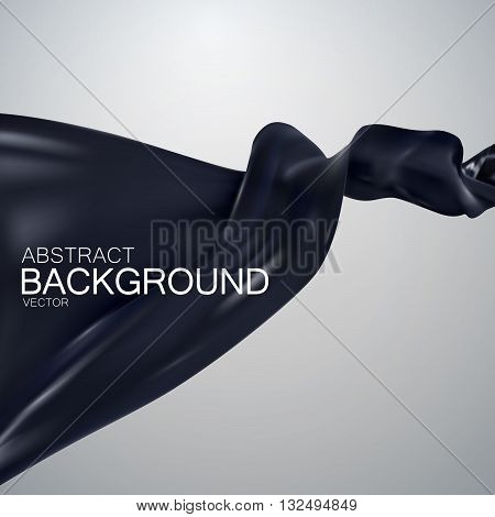 Black silk fabric. Vector illustration with black satin or silk fabric. Vector silk textile