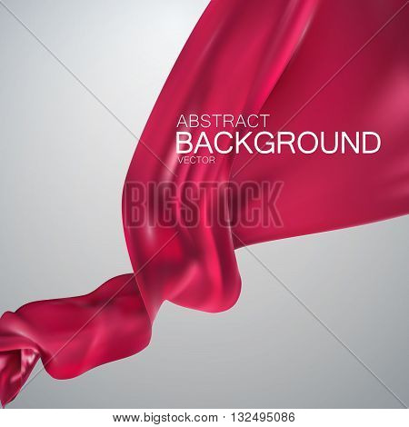 Pink silk fabric. Vector illustration with pink satin or silk fabric. Vector silk textile