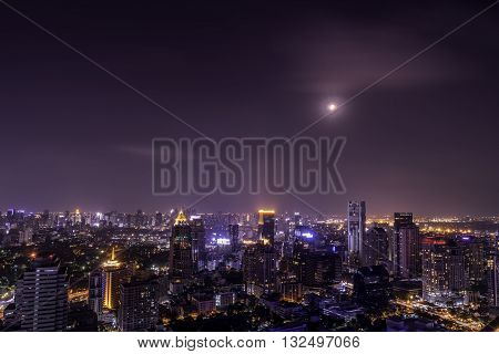 urban city view of cityscape on night viewlanscape photorooftop