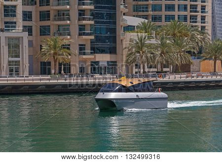 water taxi in gulf of district Marina in Dubai