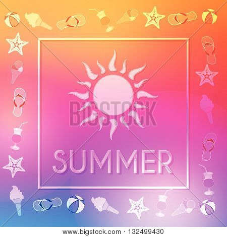 text summer with sun and summery symbols in frame over orange pink violet background, flat design poster, vector