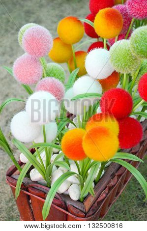 close up color plastic circle flower in nature garden