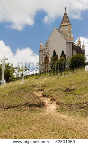 The Calvary chapel( Chapelle du Calvaire) Martinique island Fort de France French west Indies.