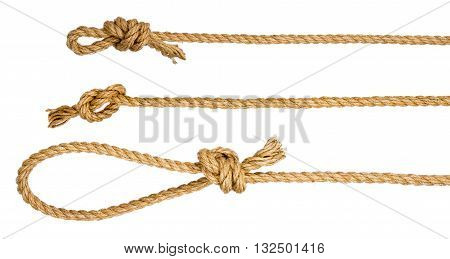 Rope loop and knots isolated on white background, closeup
