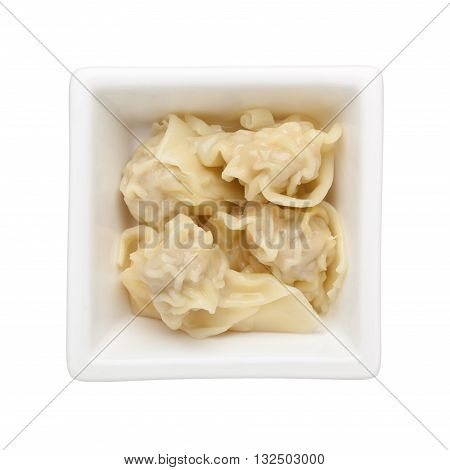 Wonton dumplings in a square bowl isolated on white background