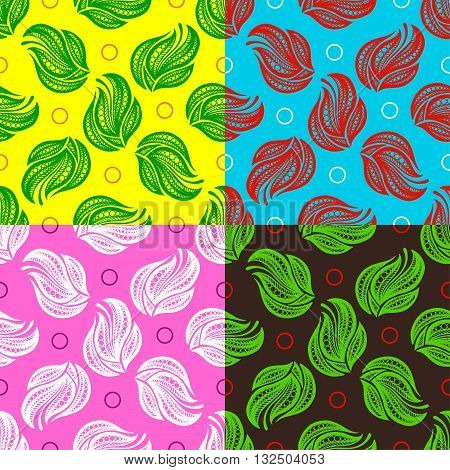 Abstract Collection Ornaments. Seamless Yellow Green Red Pink Dark Color Pattern. Vector Illustration. Can Used for Design Element, Scrap Booking, Templates, Fabric, Flyer, Broshure