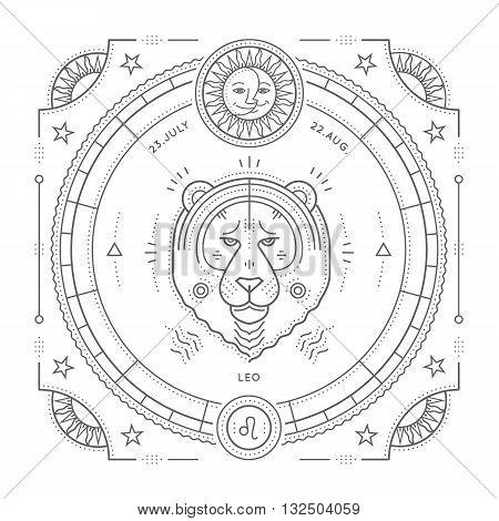 Vintage thin line Leo zodiac sign label. Retro vector astrological symbol mystic sacred geometry element emblem logo. Stroke outline illustration. Isolated on white background.