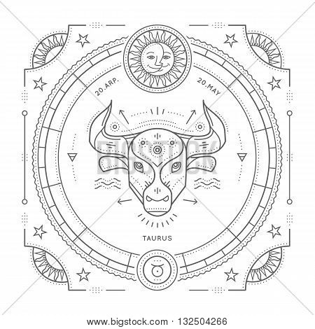 Vintage thin line Taurus zodiac sign label. Retro vector astrological symbol mystic sacred geometry element emblem logo. Stroke outline illustration. Isolated on white background.