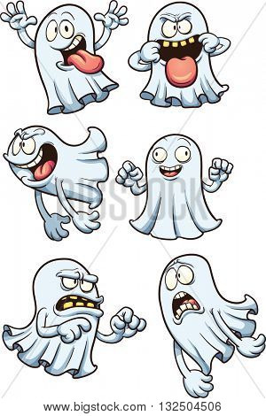 Cartoon ghosts. Vector clip art illustration with simple gradients. Each on a separate layer.