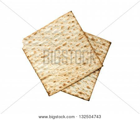 Seder concept. Matzoh isolated on white background with clipping path