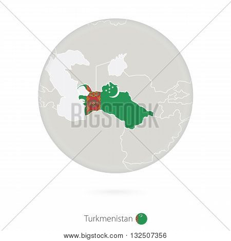Map Of Turkmenistan And National Flag In A Circle.