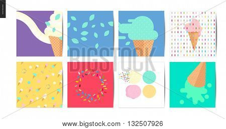 Ice cream square postcards - 8 postcards on ice cream with topping of sprinkles isolated on white background