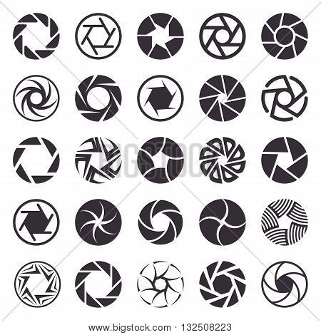 Set of photographic camera shutter icons vector illustration