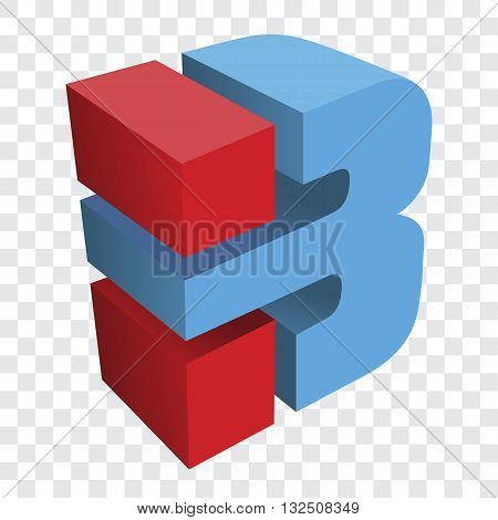 Isometric view of logo for letter b logo