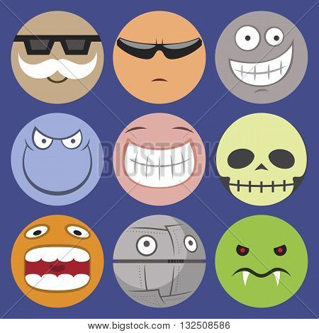 Vector set of 9 cartoon smilie characters