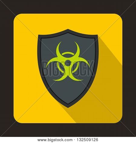 Gray shield with a biohazard sign icon in flat style on a yellow background