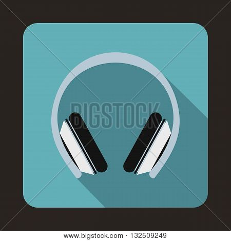 Protective headphones icon in flat style on a blue background