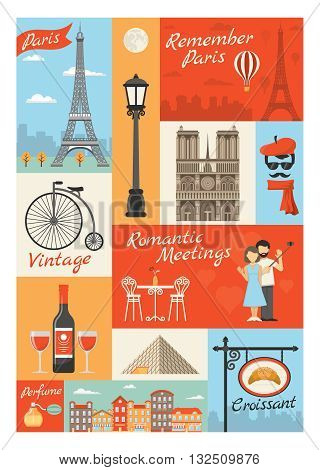 France paris vintage style icons set with louvre streetlight perfume croissant actor eiffel tower isolated vector illustration