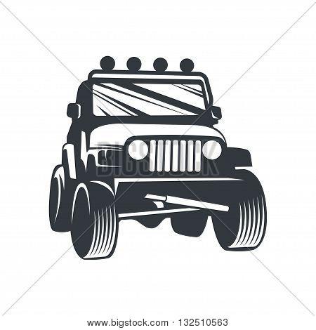 Off-road car logo, emblem, badge, icon illustration on white background.