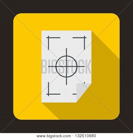 Printer marks on a paper icon in flat style on a yellow background