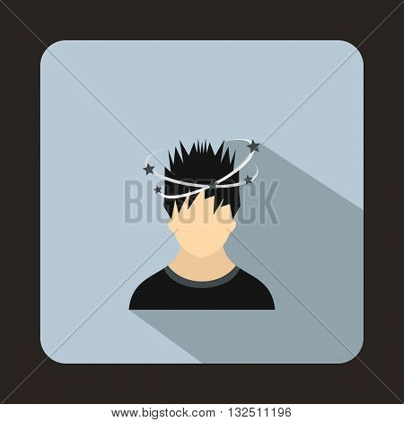 Man with dizziness icon in flat style on a light blue background