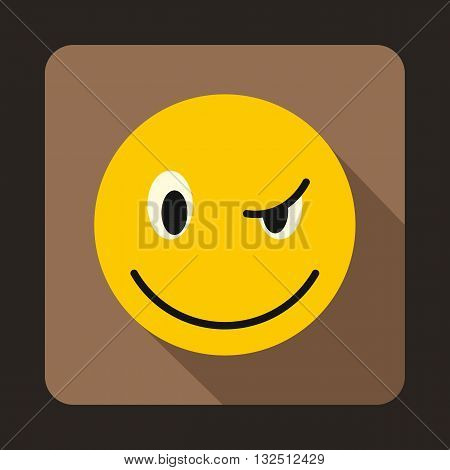 Eyewink emoticon icon in flat style on a brown background