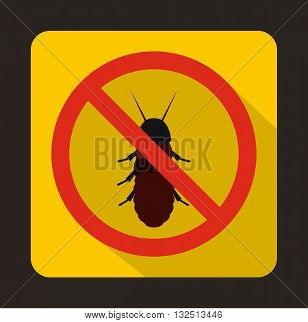 No termite sign icon in flat style on a yellow background