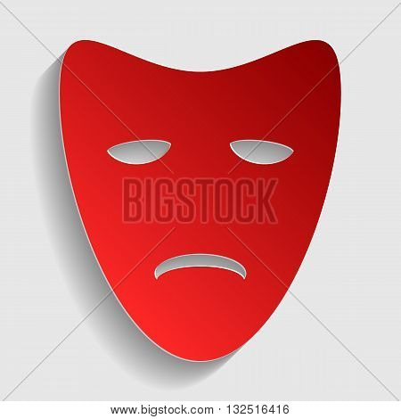 Tragedy theatrical masks. Red paper style icon with shadow on gray.