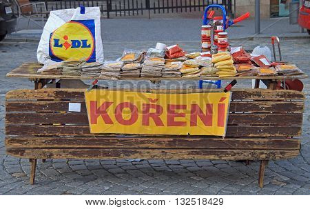 Brno Czech Republic - November 2 2015: stall with spicery on the street market in Brno Czech