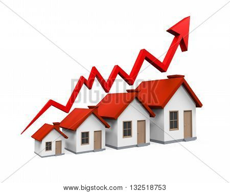 Growth in Real Estate Illustration isolated on white background. 3D render