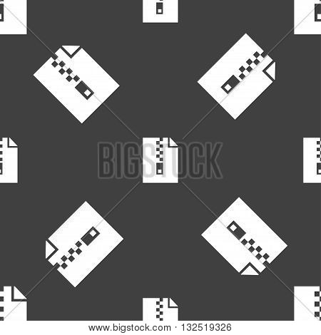 Computer Zip Folder, Archive Icon Sign. Seamless Pattern On A Gray Background. Vector