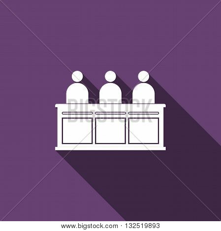 Jurors icon with long shadow. Vector illustration