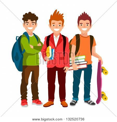 Funny group of schoolboys with backpacks and textbooks. Men friendship. Cute characters. The concept of school education. Back to school. Vector illustrations isolated on white background.