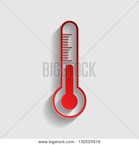 Meteo diagnostic technology thermometer sign. Red paper style icon with shadow on gray.