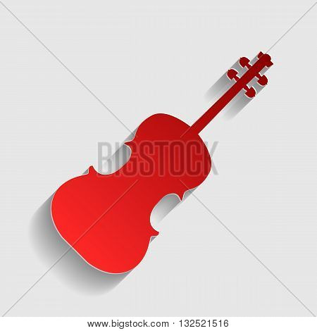 Violine sign illustration. Red paper style icon with shadow on gray.
