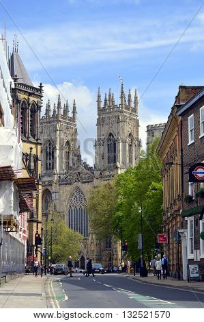 York Yorkshire England UK - May 22 2016 : The historical York Minster the cathedral of York viewed from Duncombe Place