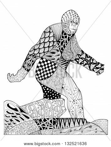 Original ink pen zentangles drawing of Bigfoot. Black lines and patterns on a white.background.