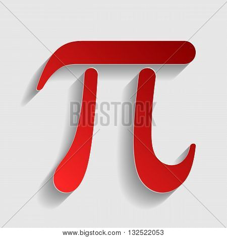 Pi sign illustration. Red paper style icon with shadow on gray.