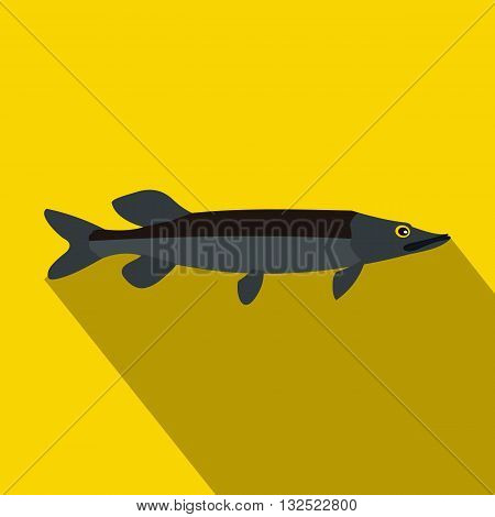 Pike fish icon in flat style with long shadow. Fishing symbol