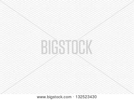 Gray color isometric grid on white, a4 size horizontal background