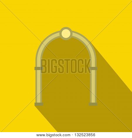 Oval arch icon in flat style with long shadow. Construction and interiors symbol