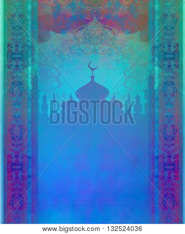 ramadan kareem with temple silhouette card , raster