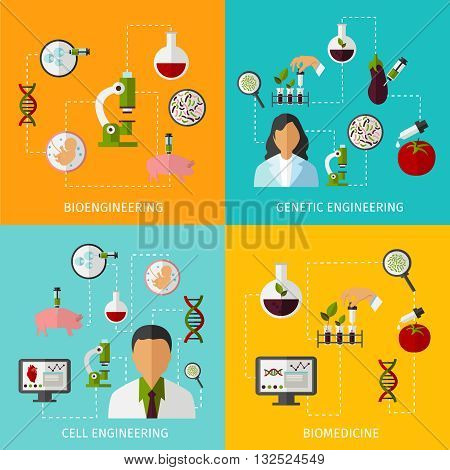 Biotechnology banners set with description of bioengineering genetic engineering cell engineering and biomedicine vector illustration