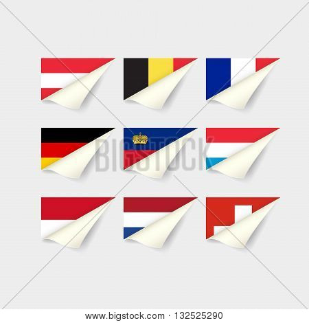 Flags of European countries. Set for Western Europe