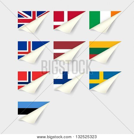 Flags of European countries. Set for Northern Europe
